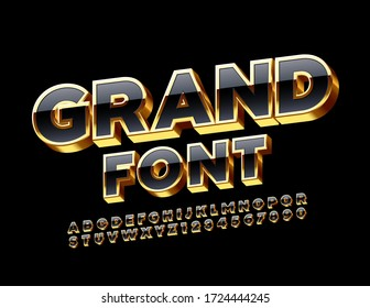 Vector Grand Chic Font. 3D Premium Alphabet Letters and Numbers.