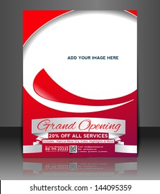 Vector Grand Opening Brochure, Flyer, Magazine Cover & Poster Template