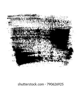 Vector grange acrylic brush strokes. Black design elements on white background. Hand drawing. Ink backdrop.