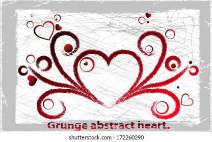 Vector grange heart. Vector illustration. Abstract background.