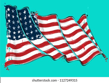 Vector grange Illustration of a 48 Star American waving Flag. This was the USA flag during WWI, WWII and the Korean war. All elements neatly on well defined layers