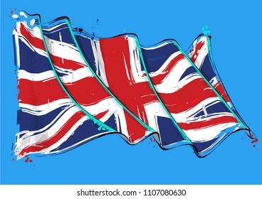 Vector grange Illustration of a British waving Flag. All elements neatly on well defined layers