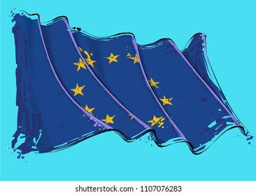Vector grange Illustration of an European Union waving Flag. All elements neatly on well defined layers