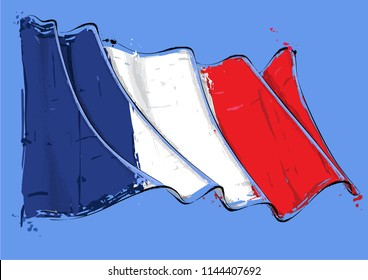 Vector grange Illustration of a French waving Flag. All elements neatly on well defined layers