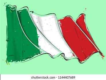 Vector grange Illustration of an Italian waving Flag. All elements neatly on well defined layers