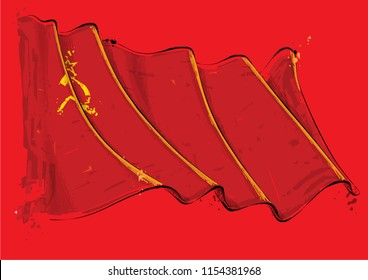 Vector grange Illustration of a Soviet Union waving Flag. All elements neatly on well defined layers