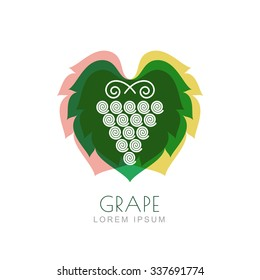 Vector grape vine and leaf, negative space logo design template. Colorful trendy illustration. Concept for nature organic products, fruits, vegetables market, harvest, healthy food, wine list, menu.