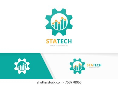 Vector graph and gear logo combination. Diagram and mechanic symbol or icon. Unique chart and industrial design template.