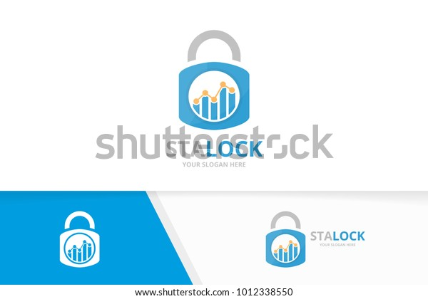 vector graph and lock logo combination  diagram and safe symbol or icon   unique chart