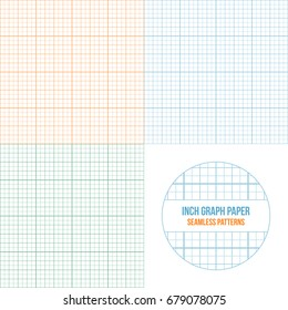 Vector graph paper seamless patterns set of different colors, grid accented every inch