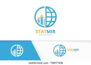 Vector graph and planet logo combination. Diagram and world symbol or icon. Unique chart and globe design template.