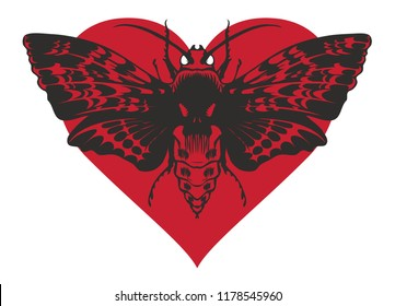 Vector graphic abstract illustration of a butterfly Dead head with a skull-shaped pattern on the thorax. Black moth on red heart isolated on white background. T-shirt design template