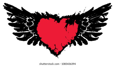 Vector graphic abstract illustration of red heart with black wings with ink blots, drops. Bloody heart and wings with spots and splashes on white background. Flying heart. T-shirt design template