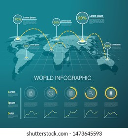 Vector graphic abstract infographics with world map and icons in vibrant colours. Creative concept for business presentation with abstract elements, graph and process chart.