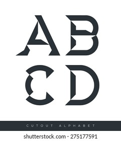 Vector graphic alphabet in a set in black and white and minimal design on isolated background