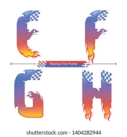 Vector graphic alphabet in a set E,F,G,H, with Abstract Racing fire fonts. Typography design for posters, logos, cover, etc.
