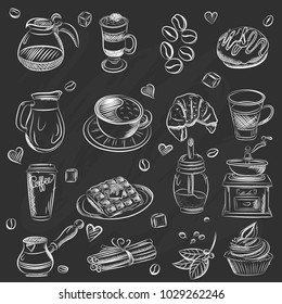Vector graphic, artistic, stylized image of coffee set graphic element for menu on blackboard. Black chalkboard with chalk traces