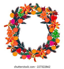 Vector graphic, artistic, stylized image of Christmas Wreath. Decorative floral design.  Happy New Year.