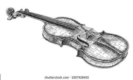 Vector graphic arts sketch of drawing violin (black pen).