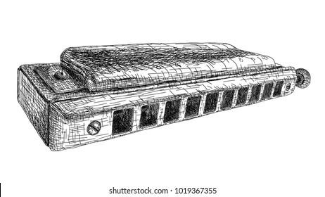 Vector graphic arts sketch of drawing harmonica (black pen).