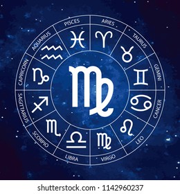 Vector. Graphic astrology set on the starry sky cosmic background. A simple geometric representation of the zodiac sign for horoscope Virgo with titles, line art isolated illustration