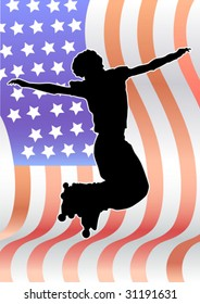 Vector graphic athlete on the background of the American flag