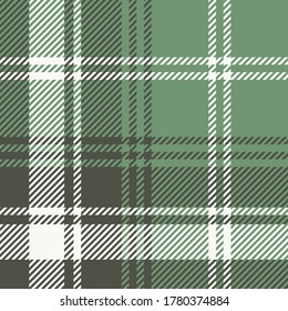 Vector graphic background. Seamless check plaid graphic pattern background for scarf, blanket, throw, shirt other fashion textile design. Plaid pattern in dark green, green and white color