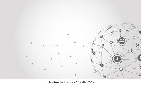 Vector graphic background wallpaper of global network in grey for presentation in concept of communication.