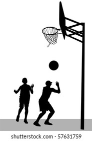 Vector graphic basketball. Silhouette sport people