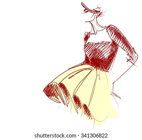 VECTOR    graphic with beautiful young   girl model for design. Fashion, style, youth,   beauty,  . Graphic, sketch drawing. Sexy woman