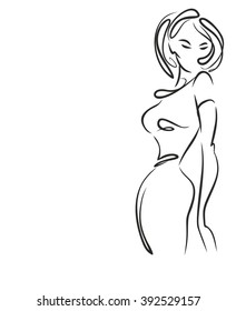 VECTOR    graphic with beautiful young   girl model for design. Fashion, style, youth,   beauty .Graphic, sketch drawing. Sexy woman. Dress, clothes