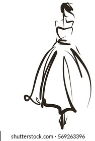 VECTOR    graphic with beautiful young   girl model for design. Fashion, style, youth,   beauty .Graphic, sketch drawing. Sexy woman. Dress, clothes, groom, bride,