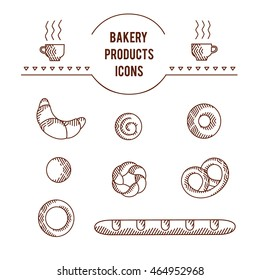 Vector graphic beautifull original icon set of bakery products