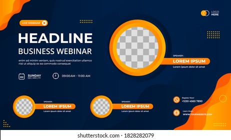 Vector graphic of blue and orange wave background with Circle frame. Suitable for web banner, business webinar, seminar, Online Courses, landing page, poster and many more