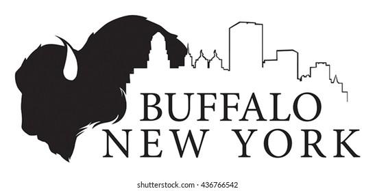 Vector graphic of Buffalo, New York skyline with buffalo.