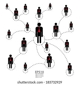 Vector : Graphic for Business Networking, Business Partner,  MLM or Multi-Level Marketing Isolated on White Background