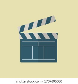 Vector Graphic of Clapboard Icon with flat design style. Clapboard Flat Icon. Multimedia Icon.