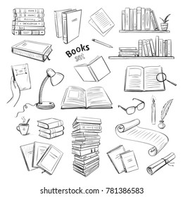 Vector graphic collection of books, reading. Hand drawings on a white background