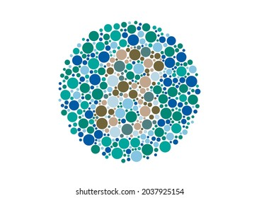 Vector graphic of Color blind test design. The number 8 cunningly hid inside an Ishihara inspired design. A color blindness test shaped color test plate with the number 8. vector eps10.