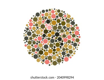 Vector graphic of Color blind test design. The number 5 cunningly hid inside an Ishihara inspired design. A color blindness test shaped color test plate with the number 5. vector eps10.