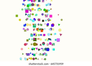 Vector graphic. Colored abstract overlapping mixed shape pattern. Good for web page, wallpaper, graphic design, catalog, texture or background.