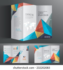 Vector graphic colorful abstract polygon professional business brochure design for your company