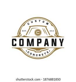 Vector graphic of construction concrete circle logo vintage retro style