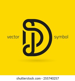 Vector graphic creative line alphabet symbol / Letter D
