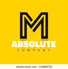 Vector graphic creative line alphabet symbol / Letter M