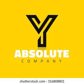 Vector graphic creative line alphabet symbol / Letter Y