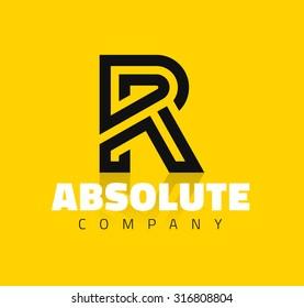 Vector graphic creative line alphabet symbol / Letter R