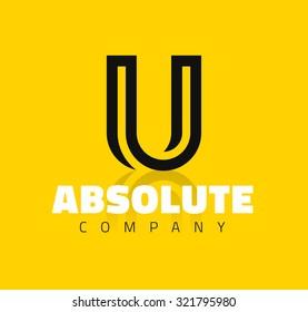 Vector graphic creative line alphabet symbol / Letter U