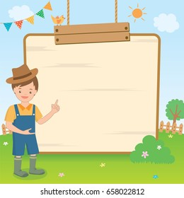 Vector graphic of a cute countryside boy  presenting on the wooden board on natural background.
