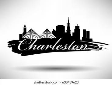 Vector Graphic Design of Charleston City Skyline